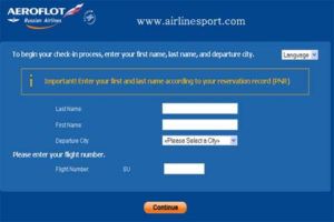 aeroflot check in ticket number